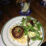 Crab Cake with Remoulade, along with grilled artichoke salad.