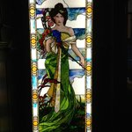 Upon entering the front door are two stain-glass windows