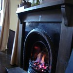 Fireplace in the bar area