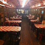 Trolley car dining area right in the middle of the restaurant.  Very cool!