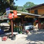 Fruit stand outside restaurant