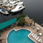 patio/pool area and marina