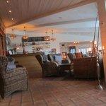 Lounge area; cozy w/ fireplace
