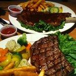 ribeye & BBQ rib dinners