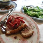 delicious grilled porks and stir fried vegies
