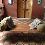 Swing seat & terrazzo tiles