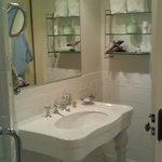 Spacious bathroom with nice amenities.