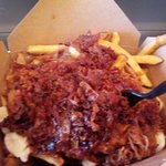 Poutine with pulled pork and bacon.