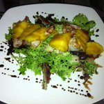 Special custom Salad: mixed greens, jumbo shrimp wrapped in pancetta, mango slices and balsamic
