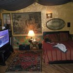 Sleeping area with t.v. surround stereo and awning style ceiling