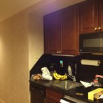 Kitchenette.  No stove.  Only microwave and fridge.  No toaster either.