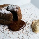 Chocolate suffle with vanilla ice cream