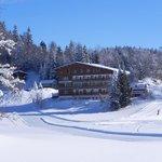 Vue d'une piste de ski de fond à l'arrière de l'hôtel.