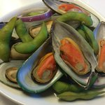 steamed mussels and edamame