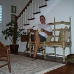 Tim, relaxing relaxing with coffee in the quaint 2nd floor living room