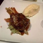 Rump of Lamb with Braised Savoy Cabbage, Root Vegetable and Garlic Mash.
