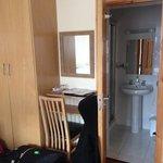 desk, wardrobe, bathroom