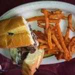 Some steak like sub and sweet potato fries