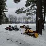 Sled parking at Old Saco Inn