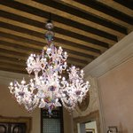 The murano chandelier in the hotel