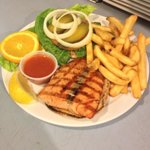Monday Lunch Special Salmon Filet Burger 9.95