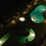 pool and lazy river at night