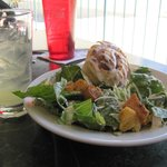Caesar Salad with cinnamon roll and Margarita