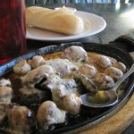 Mushrooms and Steak with Garlic Butter and baguette