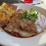 Lasagna and Garlic Bread, lunch portion