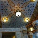 The dining room tiled ceiling