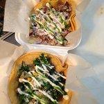 Kale & Potato Taco and Cola-braised pork taco