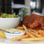 Our famous beer battered hake and chips