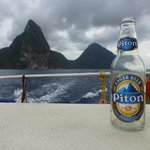 The Pitons from the catamaran.  Couldn't wait...had to drink