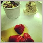 Chocolate mousse with gold leaf, bara brith ice cream and strawberries with ba