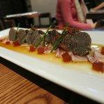 sashimi with ponzu jelly and truffles