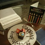 Mum's b'day card and cake from hotel