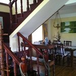 dining area with stairs