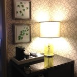 In-room coffee station (loved the wallpaper!)