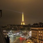view of eiffel tower from our balcony