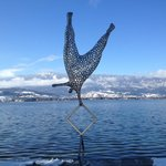 Art pieces at the Auberge garden just in front of the Annecy Lake
