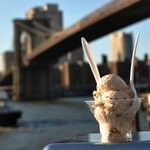 Chocolate Chip Ice Cream with a scenic view of the Brooklyn Bridge.