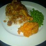Lamb Shank, rice, peas and mashed carrots
