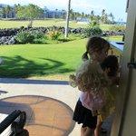 View through patio to green