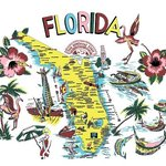 Tee shirts and aprons and totes with vintage Florida motif