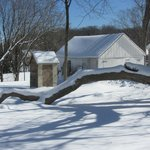 A beautiful winter scene outside the museum.