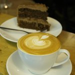 Locally roasted coffee and homemade cake.