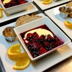 Polenta with fruit compote