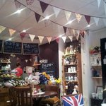 Bunting decor and the main counter