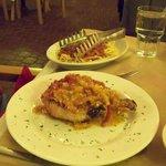 Pork chop and pasta.