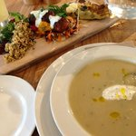 Vegetable platter & celeriac and apple soup.